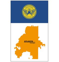 orange silhouette map atlanta with flag vector image