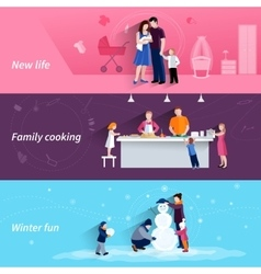 Parenthood 3 flat horizontal banners set vector