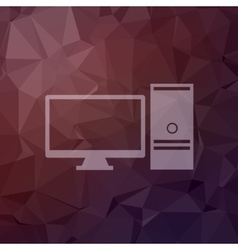 Personal computer in flat style icon vector image