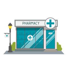 Pharmacy drugstore shop facade flat style vector
