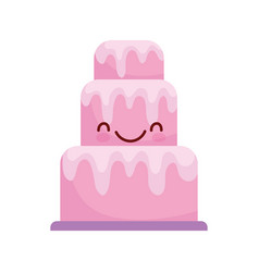 Pink big cake dessert cartoon food cute line and vector