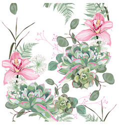 pink tropical orchid flowers with herbs vector image