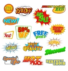 Pop art comic sale discount icons vector image