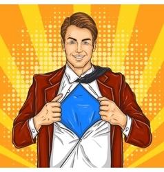 Pop art super dad hero vector image