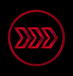 red arrow icon metal texture vector image