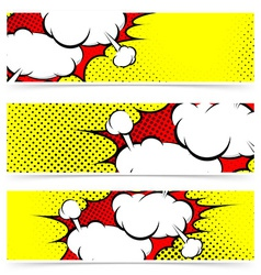 Retro comic style explosion collision flyer vector
