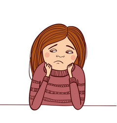 sad girl isolated vector image