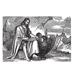 Saint john evangelist writing vintage vector