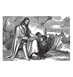 Saint john the evangelist writing vintage vector