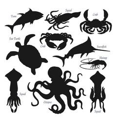Sea fish animal and shellfish black silhouettes vector