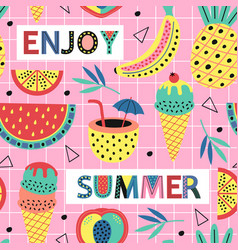 seamless pattern with summer fruit and ice cream vector image