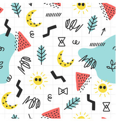 seamless summer doodle pattern vector image