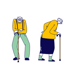 senior couple characters with walking canes stand vector image