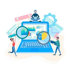 Seo optimization internet marketing team work vector