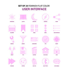 Set of 25 feminish user interface flat color pink vector