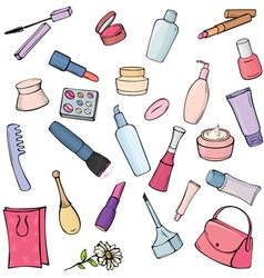 Set of different cosmetics and toiletries vector