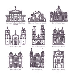 Set of isolated churches of europe in thin line vector