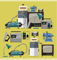 Set of retro home appliances icons vector