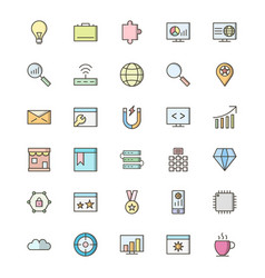 Set of seo search engine optimization icons vector