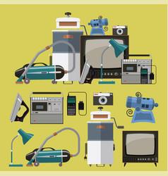 Set retro home appliances icons vector