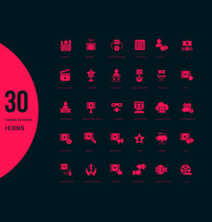 set simple icons cinema business vector image