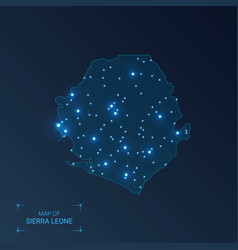 Sierra leone map with cities luminous dots - neon vector