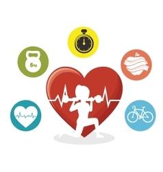 Silhouette girl lifting weight heart pulse sport vector
