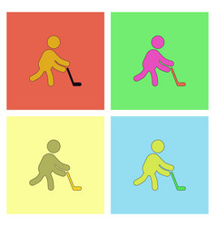Silhouette of athlete practicing hokey collection vector