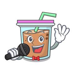 Singing bubble tea mascot cartoon vector