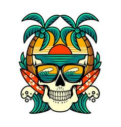 skull beach vector image