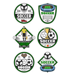Soccer championship badge of football sport game vector