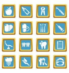 stomatology dental icons set sapphirine square vector image