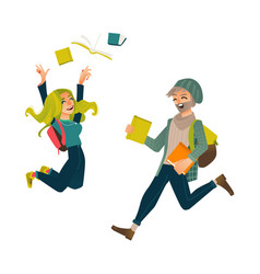 Students boy and girl jumping from happiness vector