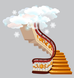 The golden stairs leading into the snow clouds vector
