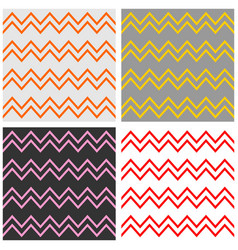 Tile chevron pattern set with zig zag background vector