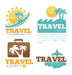 Travel agency logo templates set isolated vector