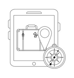 Travel and online technology in black and white vector