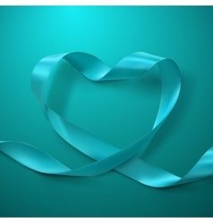 turquoise ribbon heart vector image