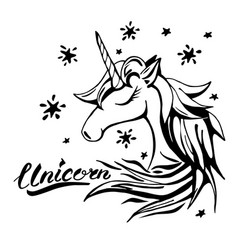 Unicorn text and character in tattoo vector