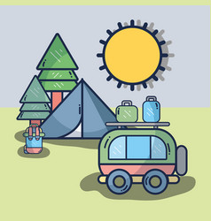 van with travel thing and camp vector image