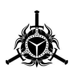 Viking helmets with horns vector
