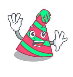 Waving party hat character cartoon vector