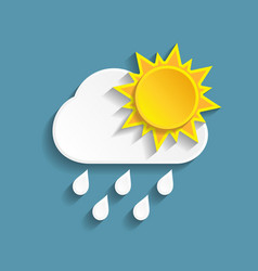 white paper rainy cloud and sun vector image