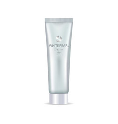 white pearl day face or hand cream in bottle tube vector image