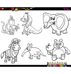 wild animals set coloring page vector image