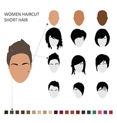 Women haircut styles short hair vector