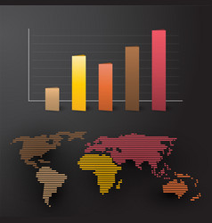 world map with colored graph by continent vector image
