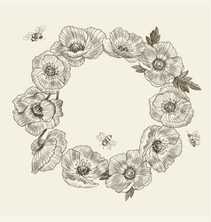 Wreath flower poppy place for text poppy vector