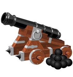 Old pirate ship cannon vector image vector image