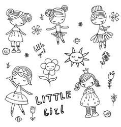 Set of cartoon girls set of cartoon girls vector